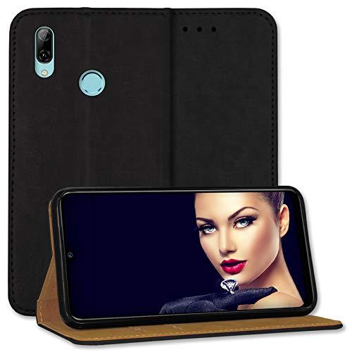 mtb more energy® Leder-Tasche Bookstyle für Huawei P smart 2019 / Honor 10 Lite (6.21'') - schwarz - Echtleder - Schutz Hülle Wallet Cover Hülle