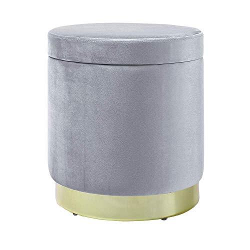 Zedelmaier Zylindrischer Samt Aufbewahrungshocker,Ottoman,Fußbank Hocker,Aufbewahrungsbox Hocker,Maximale Belastung 150kg,Größe 37x37x41.5cm(Grau)