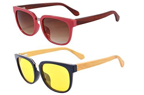 SHINU Occhiali da sole da donna polarizzati in legno per la visione notturna Occhiali da guida con funzione di blocco della luce blu-SG569