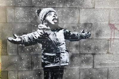 JHGJHK Escena de Nieve de niño de Invierno Mirando hacia el Cielo Arte Pintura al óleo Creativa decoración de la habitación Pintura