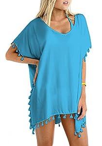 Pareo Camisola de Playa para Poner sobre el Bikini y Crear la ilusion de Curvas, Genial para Verano y Vacaciones (Azul)