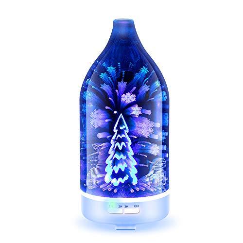 Lucky Big Head YY 3D-glas-aromatherapie-machine, aroma-luchtbevochtiger, thuiskantoor, luchtbevochtiger met kleurrijk nachtlampje, fijne verstuiving (120 ml)