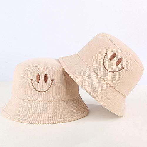 Bucket Hat Chapeau Sourire Visage Velours Côtelé Seau Chapeau Casquette Broderie Fille Chapeau en Plein Air Randonnée Pêche Femme Casquette Plage Panama Taille Enfant Beige