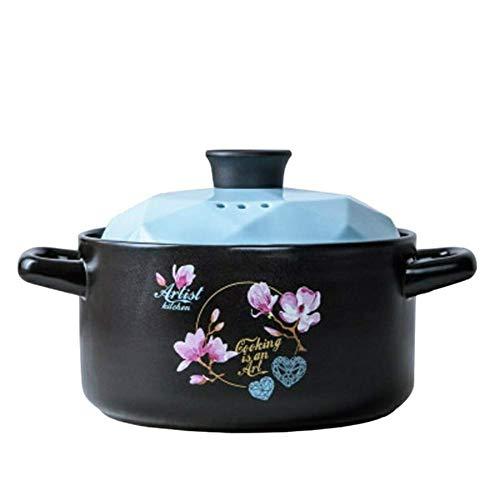 HAOT Keramikauflauf Hitzebeständiger Tontopf Blumenmuster Irdener Topf mit Zwei Griffen Modernes Kochgeschirr mit Deckel für Küche Restaurant-4lblue