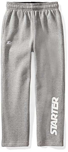 Starter Boys' Open-Bottom Logo Sweatpants with Pockets, Amazon Exclusive, Vapor Grey Heather with White Logo, L (12/14)