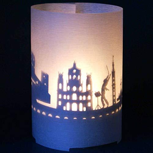 13gramm Salzburg-Skyline Windlicht Souvenir in der Geschenk-Box, 3D Edelstahl Aufsatz für Kerze inkl. Kerze, Projektionsschirm