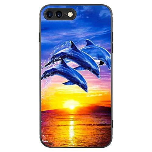 FAUNOW Diseñado para iPhone 7/8 Plus Funda Mate Ultra Fina a prueba de golpes Negro Funda Protectora con Dolphin Sunset