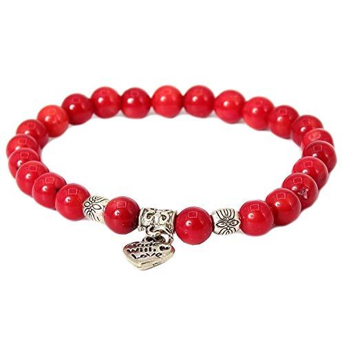 JUSTFOX - Edelstein Armband Geschenkidee Chakra Coral