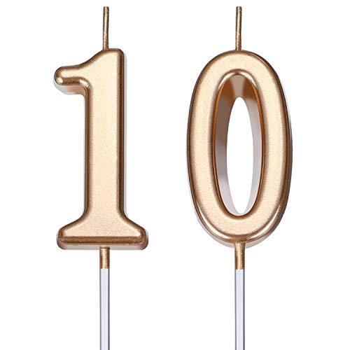 BBTO Candele di Compleanno 10 ° Numero Candele di Torta Numero Candele Decorazione di Felice Compleanno Torta Topper per Compleanno Nozze Anniversario Celebrazione Bomboniera (Champagne Oro)