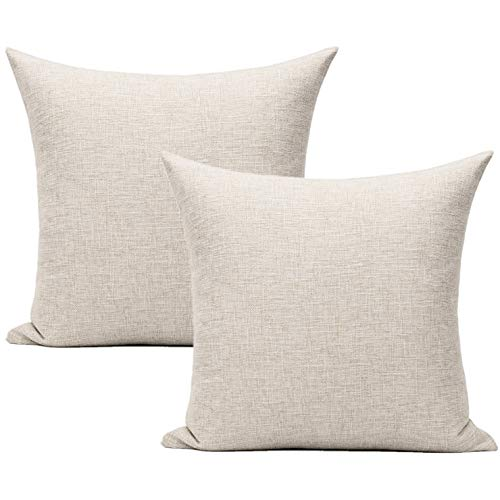 All Smiles Beige Cushion Covers Linen Pillow Covers Home Décor Outdoor Decorations for Sofa Bed 18x18 Set of 2