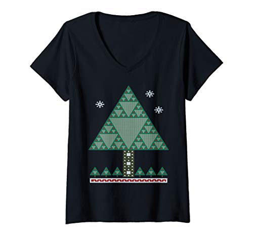Womens Math Fractal Christmas Tree Sierpinski Triangle V-Neck T-Shirt
