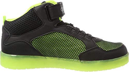 Geox Jungen J KOMMODOR Boy C Hohe Sneaker, Schwarz (Black/Lime), 30 EU