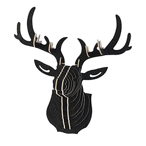 LOVIVER 3D Testa di Cervo da Parete Design da Appendere in Legno Nero Modello Scultura Testa della Fauna Selvatica Decoro - Nero