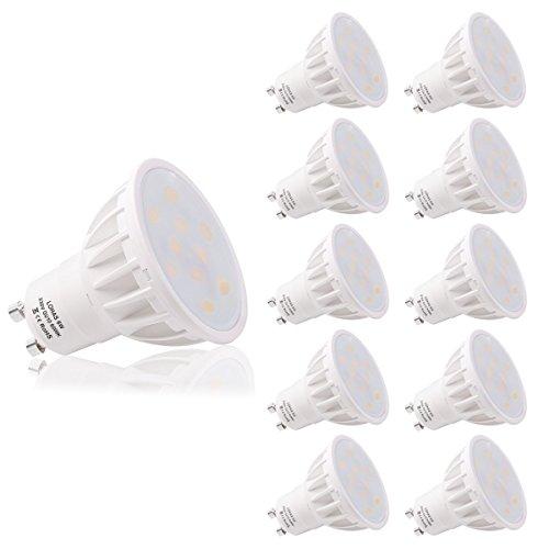 LOHAS Bombillas LED, GU10 6W Equivalente a 50W, Blanco Frío 6000K, 500lm, No-Regulable, Ultra Brillante LED Bombillas, Paquete de 10 Unidades
