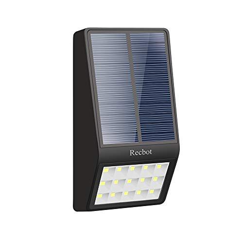 Recbot Luz Solar Jardín 15 LED 2000 mAh Lámparas Solares E