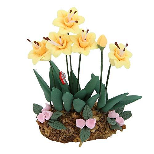 Zerodis Puppenhaus Miniatur Blume 1:12 Mini Harz Blume Blumentopf Puppenhaus Ornamente Gartenszene Bonsai Blumen Mädchen Rollenspiele Spielzeug