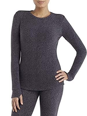 Cuddl Duds ClimateRight Women's Stretch Fleece Warm Underwear Long Sleeve Top (S - Grey Cationic)