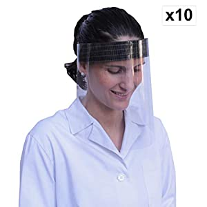 41AJ8BlO hL. SS300  - KMINA - Pantalla Protección Facial Transparente, Pantalla Protectora Cara, Protector Facial, Visera Protectora con Agarre de Velcro Trasero, Fabricado en España (Pack x10 uds)