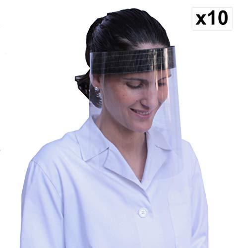 KMINA - Gesichtsschutz (10 Stück), Visier Gesichtsschutz, Schutz Gesicht, Augen, Face Shield, Schutzvisier Gesicht, Gesichtsschutz Visier Klappbar, Gesichtsschutzschirm, Spuckschutz Gesicht