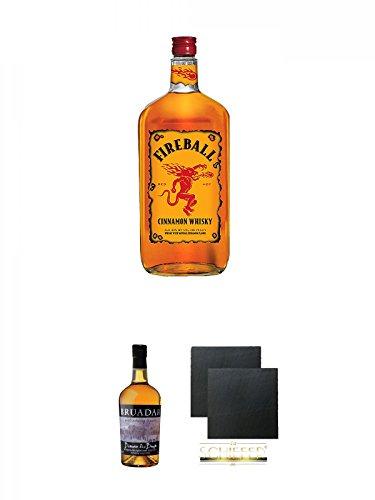 Fireball Whisky Zimt Likör Kanada 0,7 Liter + Bruadar Whisky Malt Whisky Liköre 0,7 Liter + Schiefer Glasuntersetzer eckig ca. 9,5 cm Ø 2 Stück