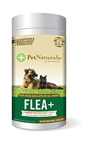 Pet Naturals of Vermont - Flea + Tick, All-Natural Flea, Tick and Mosquito Repellent for Pets, 60 Wipes