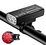 Aiguozer USB Rechargeable Bike Light, 3000 Lumens 3 LED Bicycle Headlight, 5200mAh Waterproof