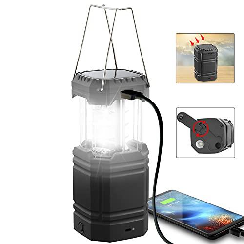 Hand Crank Camping Lantern Solar Powered, LED Rechargeable Lantern...