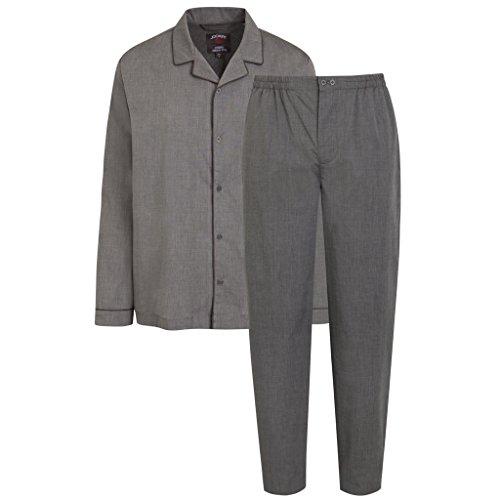 Jockey - Herren Schlafanzug - Pyjama - geknöpft - Größe 48-64/98-106 - 100{2c58ac4b32c96222f616e62f96a35f8c4b1ea89f0b5751406853fc1db1ecb3d0} Baumwolle (52 / L, Grau)