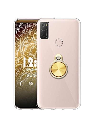Sunrive Funda Compatible con alcatel 1S (2021), Silicona Transparente Gel Carcasa Case Bumper Anti-Arañazos Espalda Cover Anillo Kickstand 360 Grados Giratorio(A3 Dorado) + 1 x Lápiz óptico