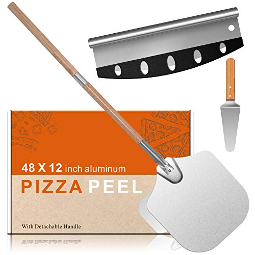"14""*12"" Pizza Peel Aluminum Alloy Pizza Shovel Pizza Paddle Pizza Cutter+Pizza Slicer with 2-Section Detachable Portable Hanging Wood Handle for Home Baking Homemade Pizza Bread and Cookies Cake"