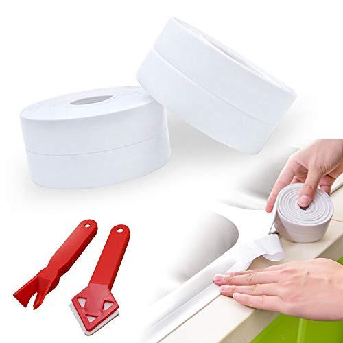 Cinta impermeable para cocina y baño | Cinta selladora autoadhesiva | Cinta impermeable con herramientas | Utilizada en cocina | baño | inodoro