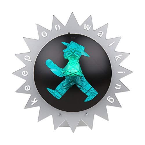 AMPELMANN Ampelleuchte Zacke | Wand- und Tischlampe | Geher - Keep on Walking durch. 30cm metallic silber Acryl 240 Volt max 60 Watt, Fassung E14 inkl Leuctmitttel