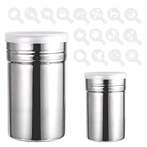 INHEMING 2 Edelstahl Powder Shakers, Mesh Shaker Pulver Dosen für Kaffee Kakao, mit 16 Stück Druckformen Schablonen