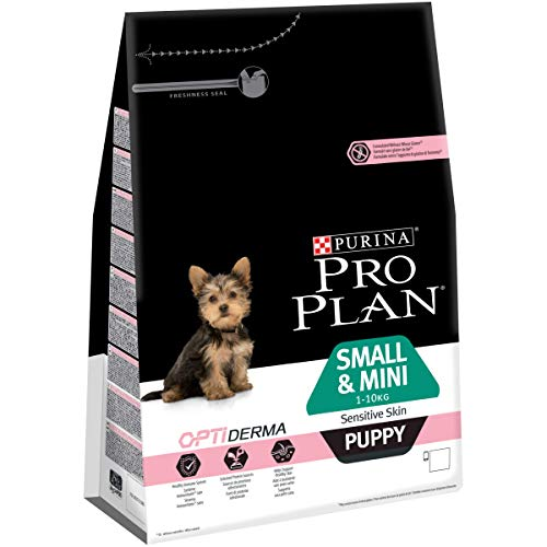 Purina Pro Plan Small & Mini Puppy, Salmón para cachorros de piel sensible, 1 x 3 Kg