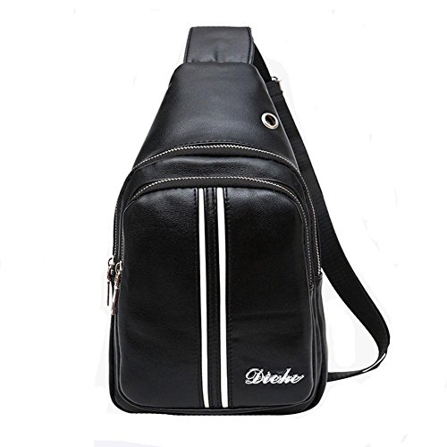 Sac de Poitrine Cortex Traveling Business Waterproof Headphone Holes Large Capacity Male Ladies Bags Messenger Bag Sling bag , Black