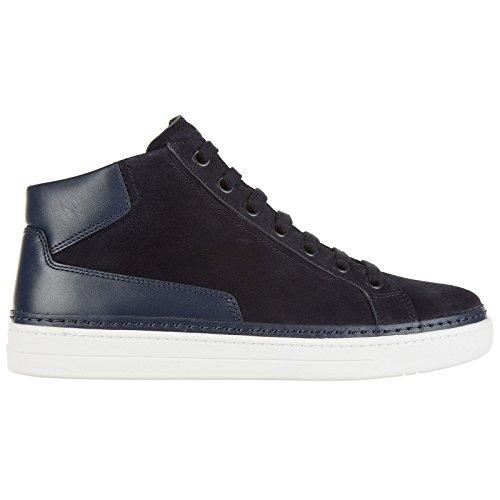 Prada scarpe sneakers alte uomo in camoscio nuove blu
