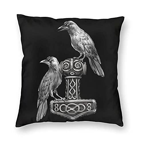 BBYOUTH Viking Raven Lanzar Cubiertas de Almohadas Odin Myth Home Sofá Decoración Impresión 3D Funda de Almohada Cuadrada Norse Regalo,Mjolnir,20x20inch