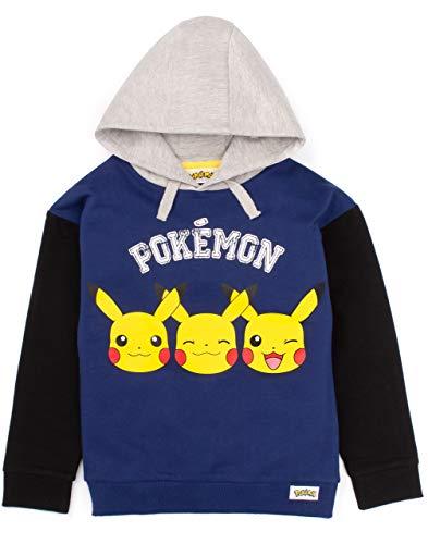 Pokemon Hoodie Jungen Kinder Pikachu Gesicht Blue Game Sweater Geschenk 9-10 Jahre