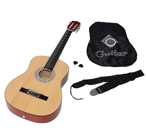 ts-ideen 5268 Akustik Gitarre Klassikgitarre Konzertgitarre in Natur mit Tasche, Ersatzsaiten, Plektrum und Gurt