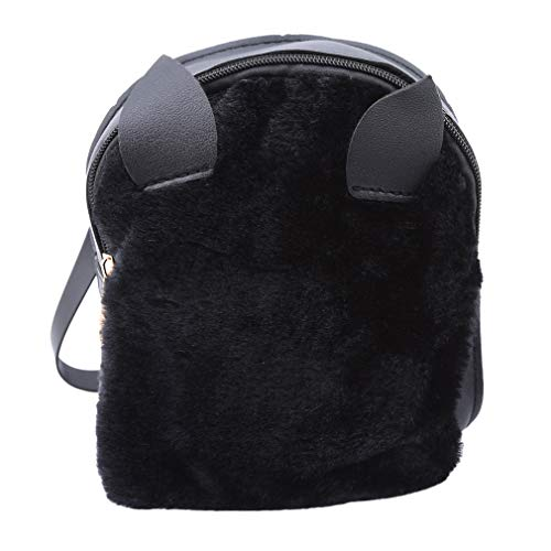 Review Of Iumer 1 PCS Women's Rabbit Ear Backpack Cute Fluffy Plush Mini Backpack,Black