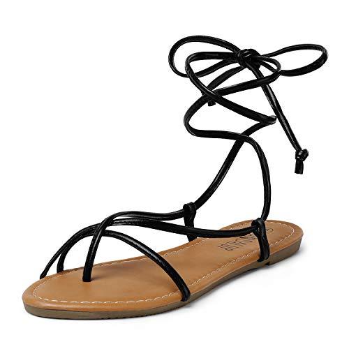 SANDALUP Lace up Sandals Tie up Dress Summer Flat Sandals for Women Black 07