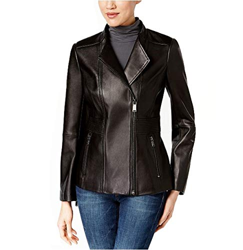 Anne Klein Asymmetrical Leather Jacket-Black-M