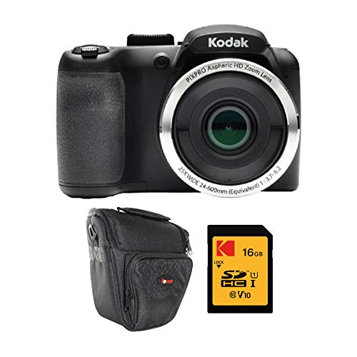 Kodak PIXPRO AZ252 Astro Zoom 16MP Digital Camera (Black) with Kodak 16GB SD Card and Travel Bag Bundle (3 Items)