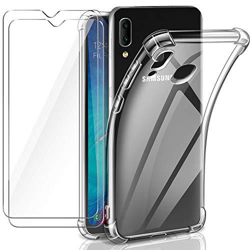 Leathlux Cover Compatibile con Samsung Galaxy A20e Custodia Trasparente con 2 Pellicola Vetro Temperato, Morbido Silicone Protettivo Antiurto Bumper TPU Gel Smartphone Custodia Case