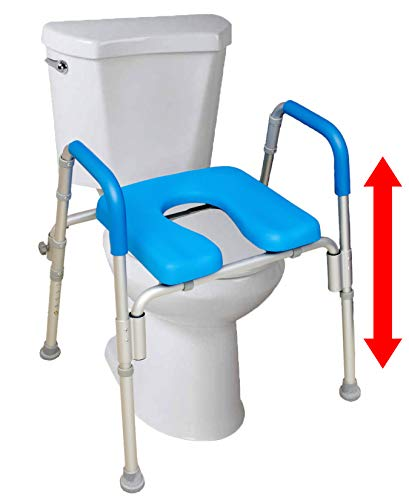 The Ultimate™ Raised Toilet Seat, Voted#1 Most Comfortable. Padded with Armrests. Adjustable Height. Premium Elevated Toilet Seat with Arms for Standard and Elongated Toilets.