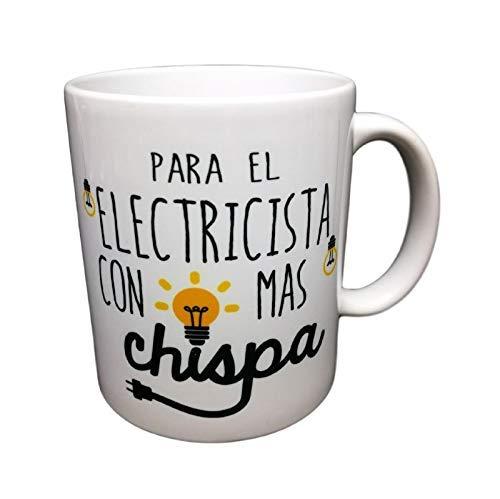 Taza Frase AL Electricista con MÁS Chispa Regalo para Electricista. Taza Original