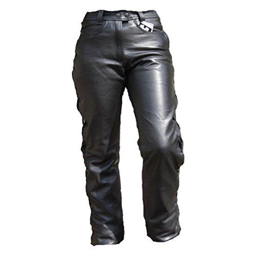 Skorpion Herren Schnürjeans Motorradlederhose aus glattem Rinderleder, schwarz, Gr.: 66