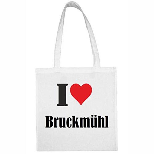 Tasche I Love Bruckmühl Größe 38x42 Farbe Weiss Druck Schwarz