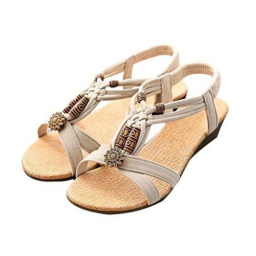 LANSKIRT Sandalias Mujer Verano 2019 Zapatos de Verano Casual con Hebilla Plana y Peep-Toe Sandalias Romanas Zuecos Elegante Zapatos de Mujeres de Vestir Baratos(Beige, 39 EU)