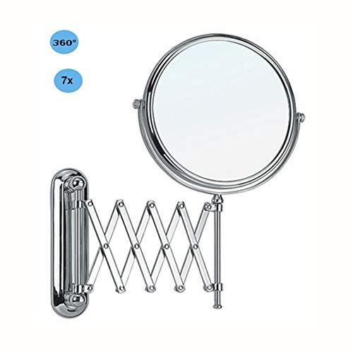 XNDCYX Kosmetikspiegel 7X Fach Vergrößerung Schminkspiegel, Wandmontage Kosmetikspiegel Zweiseitig Schwenkbar Ausziehbar Badezimmer-Rasierspiegel 8-Inch Metall Verchromt